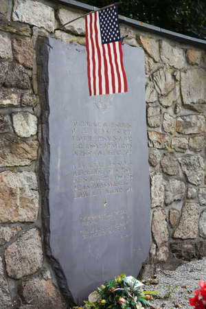 prisoners: Side view of the stone in memory of the 84 killed american war prisoners