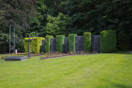 civilian: Marble columns in memory of the civilian victims in Malmdy