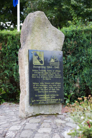 infantry: Close up of the stone at the monument in memory of the 75th Infantry Division and the 3rd armoured division Stock Photo