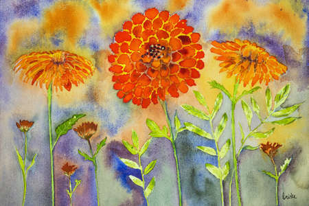 calendula: Naive marigold with blue and orange background. The dabbing technique gives a soft focus effect due to the altered surface roughness of the paper.