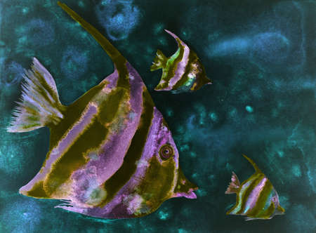 Psychedelic fishes in dark turquoise water. The dabbing technique gives a soft focus effect due to the altered surface roughness of the paper.