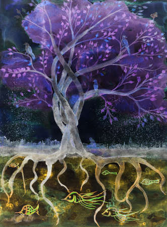Purple tree of life in the night. The dabbing technique gives a soft focus effect due to the altered surface roughness of the paper.