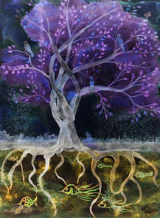 Paarse boom van het leven in de nacht. De deppen techniek geeft een soft focus effect als gevolg van de gewijzigde oppervlakteruwheid van het papier.