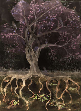 Pinkisch brown tree of life in the night. The dabbing technique gives a soft focus effect due to the altered surface roughness of the paper.