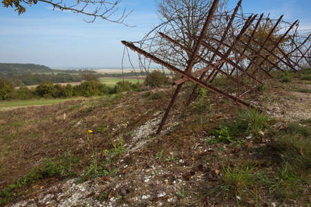 trenches: Barrier of barb wire in front of the trenches of Massiges