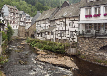 bulge: Half-timbered houses on the banks of the Rur in Monschau. Editorial-All year round-Monschau-Germany; All year round, Monschau attracts many tourists from all over the world.