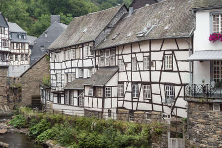 half timbered house: Half-timbered houses next to the Rur river in Monschau. Editorial