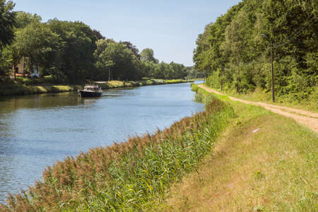 boating: Boating on the canal Herentals-Bocholt Stock Photo