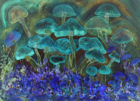 Black specled psychedelic fluorescent mushrooms. The dabbing technique gives a soft focus effect due to the altered surface roughness of the paper. Standard-Bild