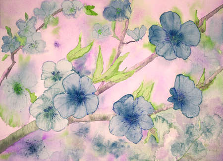 pinkish: Fantasy of blue flowers against a pinkish background. The dabbing technique gives a soft focus effect due to the altered surface roughness of the paper. Stock Photo