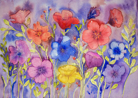 Naive anemones. The dabbing technique gives a soft focus effect due to the altered surface roughness of the paper.