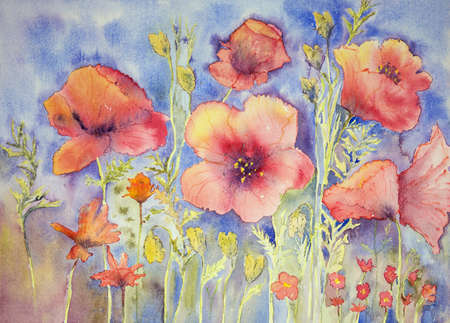 Field of naive poppies. The dabbing technique gives a soft focus effect due to the altered surface roughness of the paper.