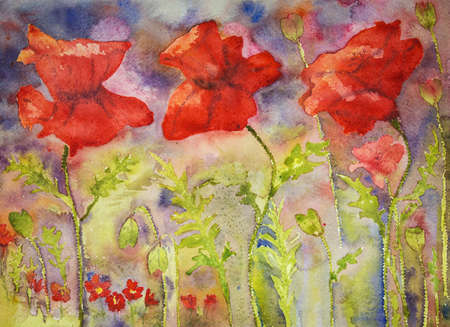 ww1: Poppies in bright summer colours. The dabbing technique gives a soft focus effect due to the altered surface roughness of the paper.
