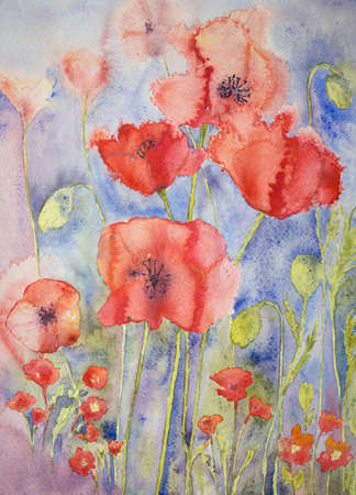 war paint: Poppies in cheerful bright colours. The dabbing technique gives a soft focus effect due to the altered surface roughness of the paper.