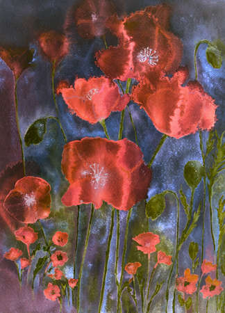 altered: Poppies in cheerful bright colours. The dabbing technique gives a soft focus effect due to the altered surface roughness of the paper.