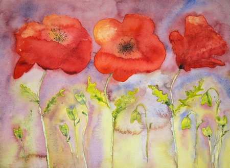 altered: Three poppies against a reddisch sky. The dabbing technique gives a soft focus effect due to the altered surface roughness of the paper.