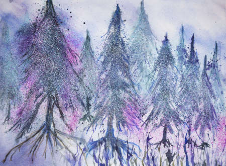 altered: Forest of pine trees in fantasy snow. The dabbing technique gives a soft focus effect due to the altered surface roughness of the paper. Stock Photo