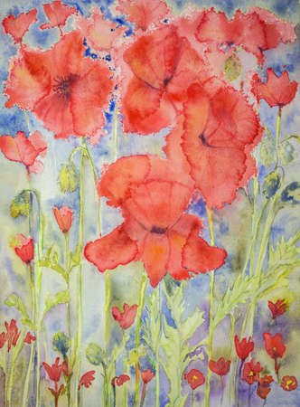 naturally: Poppies above and below. The dabbing technique gives a soft focus effect due to the altered surface roughness of the paper.