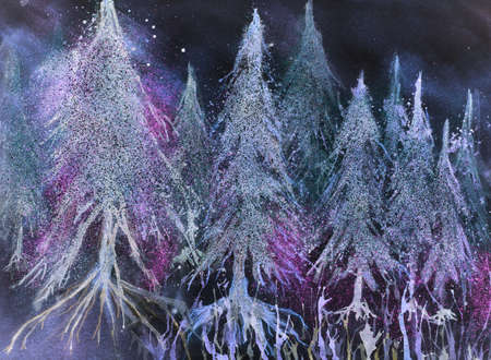 altered: Forest of glowing pine trees in fantasy snow against a night sky. The dabbing technique gives a soft focus effect due to the altered surface roughness of the paper.