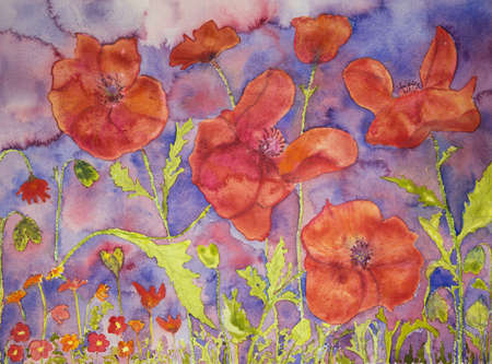 dense: Dense field of poppies. The dabbing technique gives a soft focus effect due to the altered surface roughness of the paper. Stock Photo