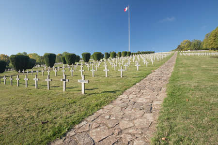 ww1: Editorial. CERNAY, ALSACE, FRANCE - OCTOBER 1, 2015: The Vieil Armand site in the Alsace still attracts many visitors to remember the first World War.