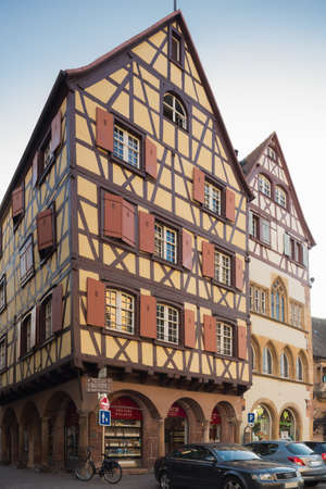 half timbered house: Editorial. COLMAR, FRANCE - OCTOBER 2, 2015, typical half-timbered houses in the centre of Colmar attract many tourists to this town Editorial