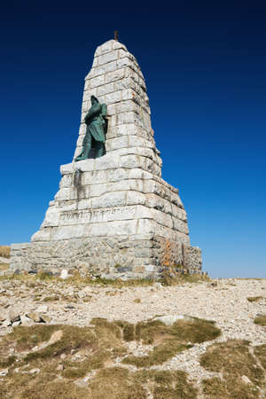 world war 1: Editorial. GRAND BALLON, ALSACE, FRANCE - OCTOBER 1, 2015: the Diables Bleus monument erected in tribute to the victims of the batallions of mountain infantry who fought in the First World War is visited by numerous hikers who climb the Grand Ballon.