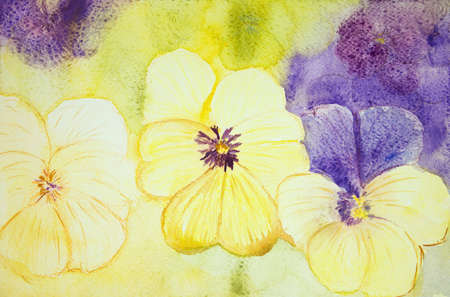 aquarelle painting art: Yellow and purple violets. The dabbing technique near the edges gives a soft focus effect due to the altered surface roughness of the paper.