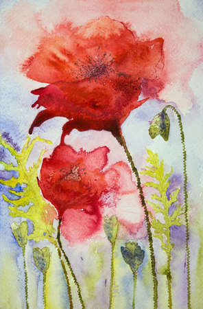 world war 1: Poppies in exploding red. The dabbing technique near the edges gives a soft focus effect due to the altered surface roughness of the paper.