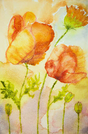 impression: Impression of poppies against an orange background. The dabbing technique near the edges gives a soft focus effect due to the altered surface roughness of the paper. Stock Photo