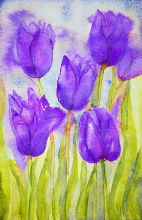 altered: Bouquet of purple colored tulips in a field. The dabbing technique near the edges gives a soft focus effect due to the altered surface roughness of the paper.