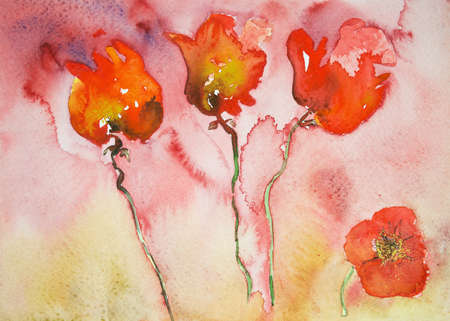 war paint: Four poppies. The dabbing technique near the edges gives a soft focus effect due to the altered surface roughness of the paper.