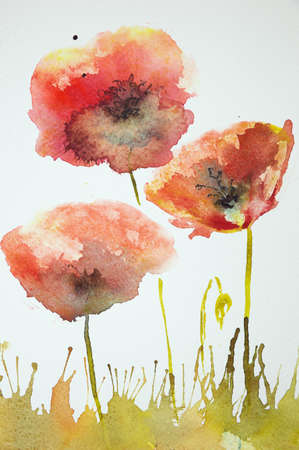 war paint: Impression of poppies in a field. The dabbing technique near the edges gives a soft focus effect due to the altered surface roughness of the paper.