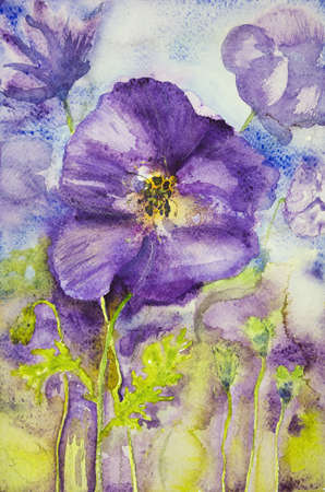 altered: Impression of violets in a field. The dabbing technique near the edges gives a soft focus effect due to the altered surface roughness of the paper. Stock Photo