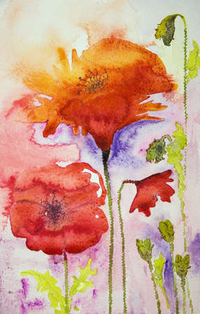 ww1: Poppies in warm colors. The dabbing technique near the edges gives a soft focus effect due to the altered surface roughness of the paper.