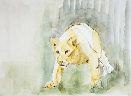 altered: Lioness sneaking towards a prey. The dabbing technique near the edges gives a soft focus effect due to the altered surface roughness of the paper.