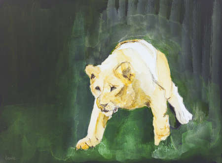 sneak: Lioness coming out of a dark forest. The dabbing technique near the edges gives a soft focus effect due to the altered surface roughness of the paper.