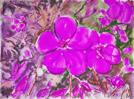 altered: Pink violet. The dabbing technique near the edges gives a soft focus effect due to the altered surface roughness of the paper.