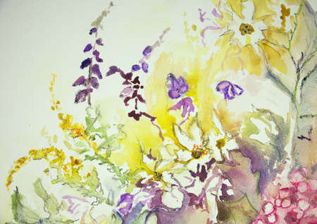 impression: Impression of a mix of wild flowers. The dabbing technique near the edges gives a soft focus effect due to the altered surface roughness of the paper.