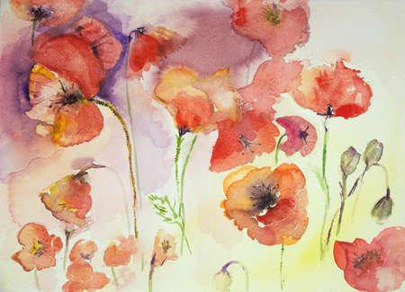 aquarelle painting art: Collection of poppies against a multi colored background. The dabbing technique near the edges gives a soft focus effect due to the altered surface roughness of the paper. Stock Photo