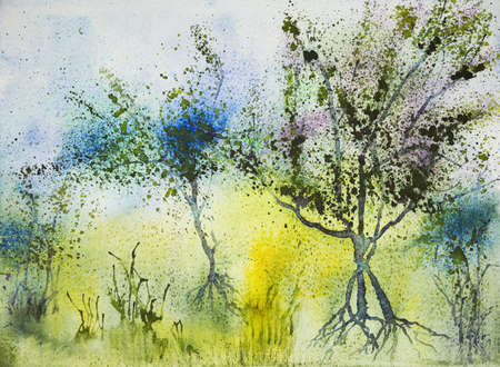 green fields: Impression of three trees in a yellow field. The dabbing technique near the edges gives a soft focus effect due to the altered surface roughness of the paper.