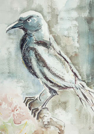 aquarelle painting art: A bluish raven on a branch with an airy background. The dabbing technique near the edges gives a soft focus effect due to the altered surface roughness of the paper.
