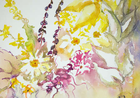 impression: Impression of wild flowers against a white background. The dabbing technique near the edges gives a soft focus effect due to the altered surface roughness of the paper.
