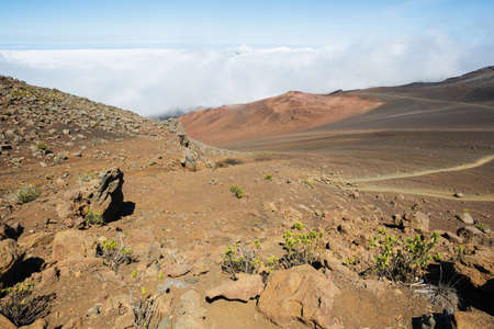 inhospitable: View of the Haleakala crater with the sliding sands trail