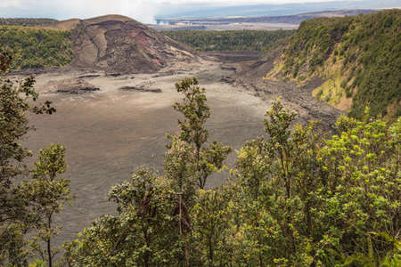 View into the Kilauea Iki Crater. In the background is the Kilauea Caldera visible.
