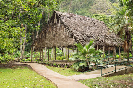 typical: Polynesian housing. Typical housing found on the islands in the South Pacific. Stock Photo