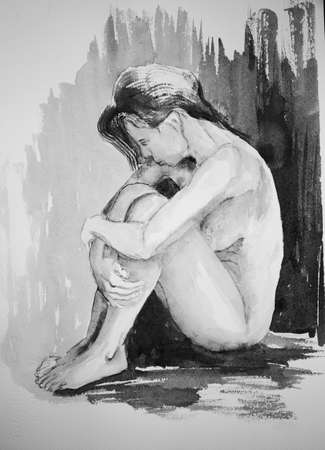 naked woman sitting: Side view of a naked woman, holding her knees, in black & white. The dabbing technique near the edges gives a soft focus effect due to the altered surface roughness of the paper.