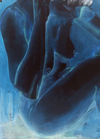 naked woman sitting: Black torso of a naked woman in electric blue. The dabbing technique near the edges gives a soft focus effect due to the altered surface roughness of the paper.