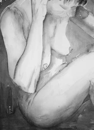 naked woman sitting: Torso of a naked woman in black and white. The dabbing technique near the edges gives a soft focus effect due to the altered surface roughness of the paper.