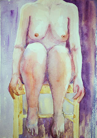 naked woman sitting: Torso of a naked woman on a chair. The dabbing technique near the edges gives a soft focus effect due to the altered surface roughness of the paper. Stock Photo